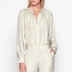 Equipment Causette Blouse Shirt Cream Silk Large